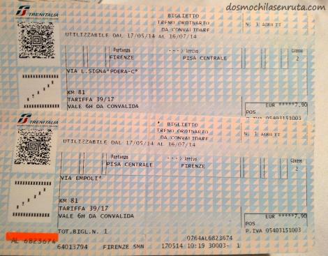 billetes tren Pisa