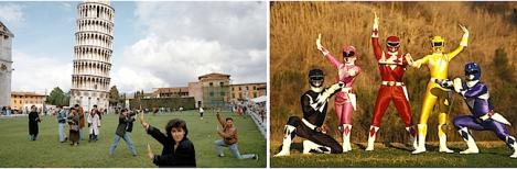 Power Rangers en la Torre de Pisa
