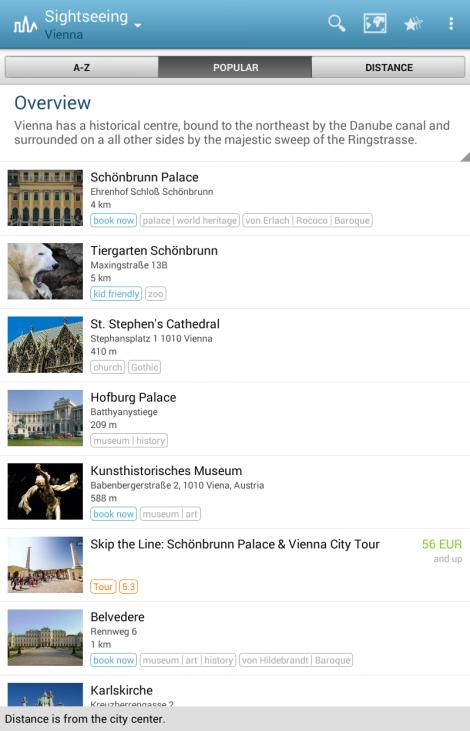 Listado de atractivos turísticos